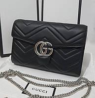 Женская кожаная сумка Gucci Гуччи черная, брендовые женские сумки