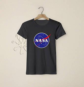 Чёрная футболка Наса (Nasa) / Футболки с надписями и лого на заказ