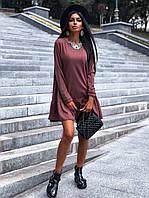 Женское летнее осеннее короткое свободное платье колокольчик молочное черное мокко42-44 46-48дайвинг с воланом