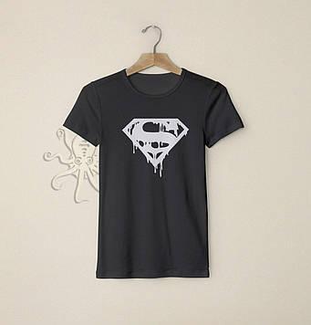 Черная футболка Супермен (S) / Футболки с надписями и лого на заказ