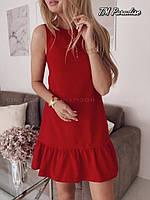 Женское летнее короткое платье колокольчик черное красное с воланом рюшем софт 42-44 44-46 молодежное классика