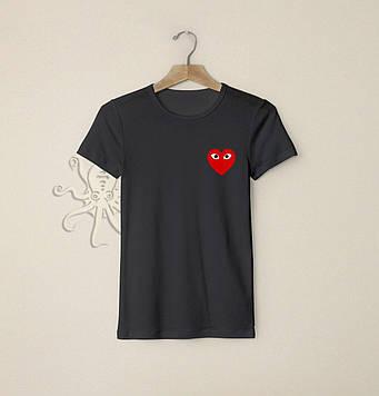 Мужская футболка с лого сердечка / Футболки с надписями и лого на заказ