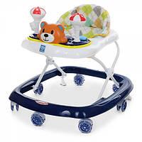 Ходунки прыгунки СИЛИКОНОВЫЕ КОЛЕСА Bambi Мишка  для мальчика от 6 месяцев цвет синий темный 3619 музыка свет
