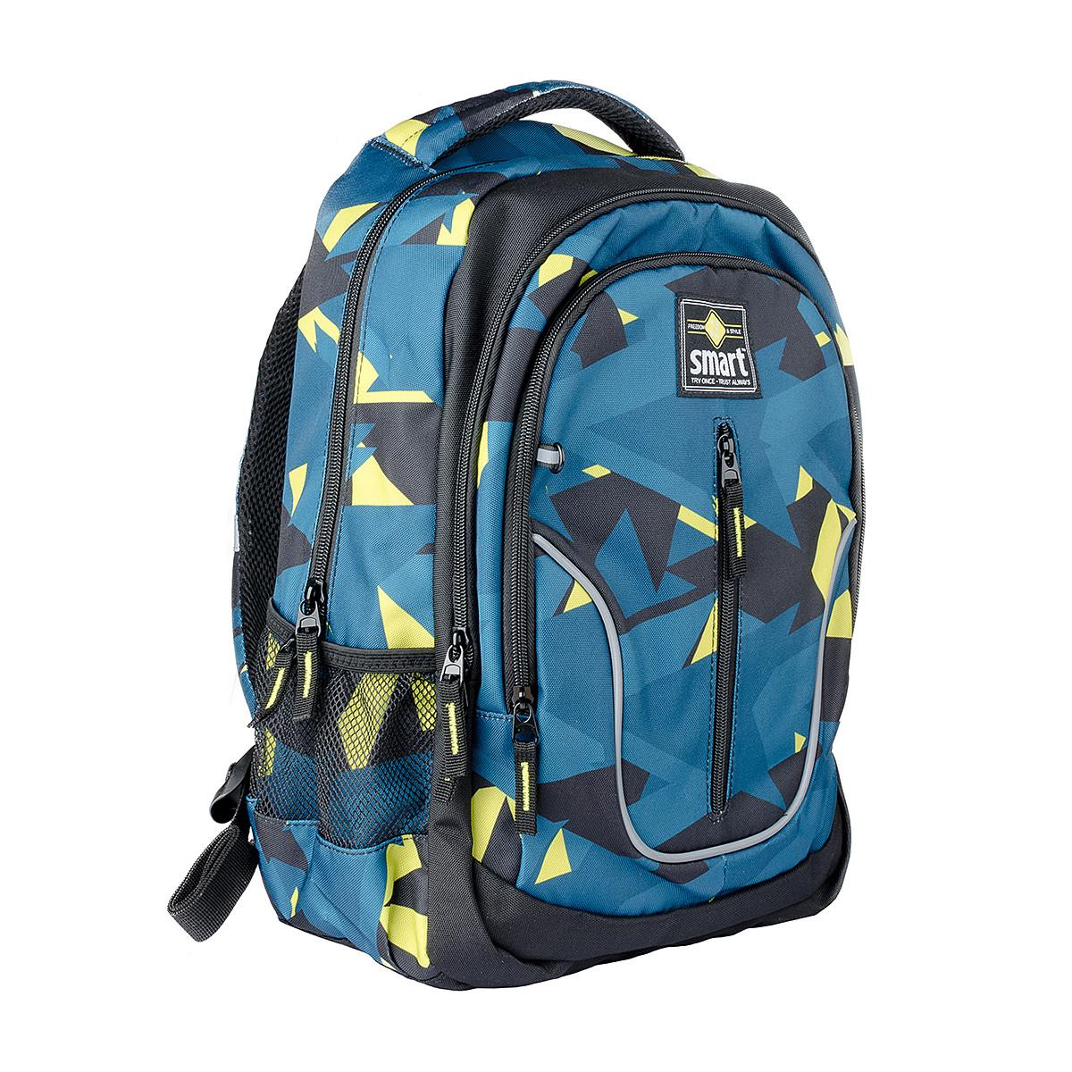 Рюкзак школьный SMART TN-07 Global, черн/бирюз.