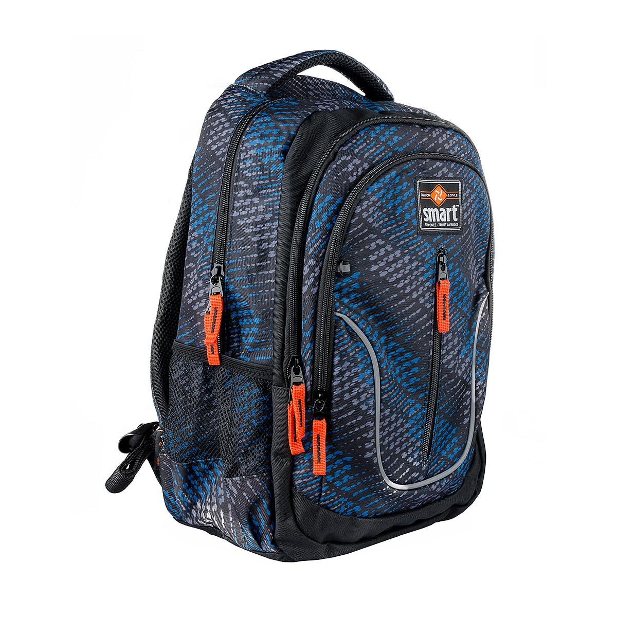 Рюкзак школьный SMART TN-07 Global, черн/син