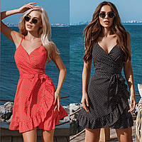Женское летнее короткое на запах платье сарафан в горошек красное черное синее белое с рюшиками42 44 46 48софт