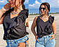 """Летняя женская стильная блузка до больших размеров 41490 """"Софт Рюш Диагональ"""" в расцветках, фото 2"""