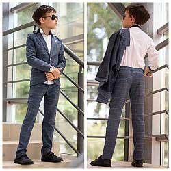Школьный костюм на мальчика классика пиджак+брюки в крупную клетку синий и серый 122-146.