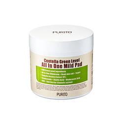 Зволожуючі педи з центеллой для очищення шкіри PURITO Centella Green Level All In One Mild Pad, 70 шт