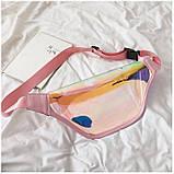 """Женская голографическая прозрачная бананка сумка поясная """"Неон"""" розовая, фото 4"""