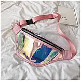 """Женская голографическая прозрачная бананка сумка поясная """"Неон"""" розовая, фото 8"""
