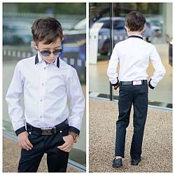 Рубашка для мальчика школьная длинный рукавна кнопках, 122-146.