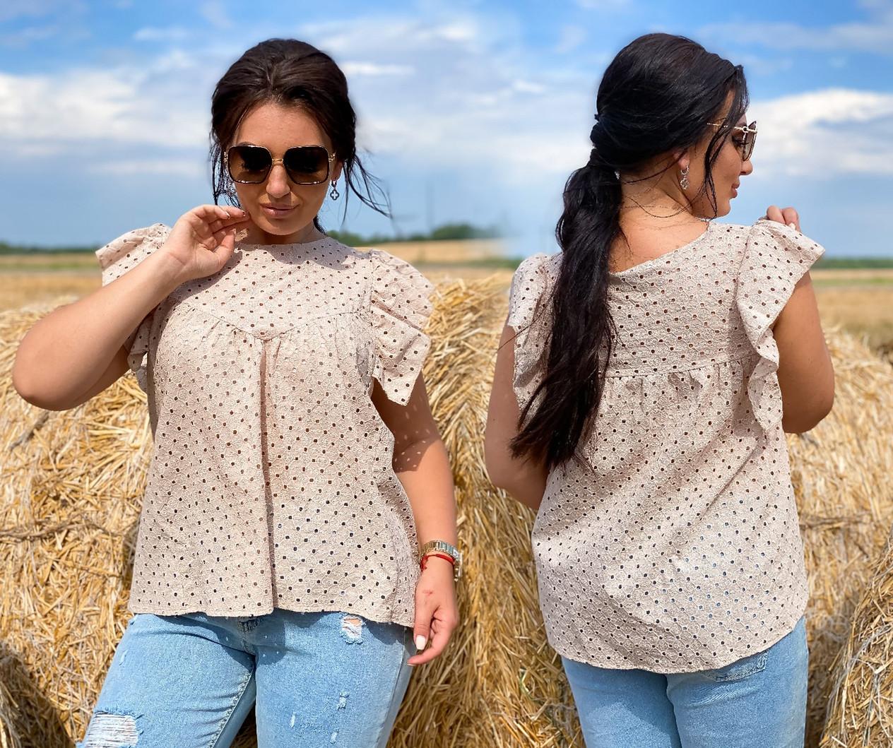 """Річна стильна жіноча блузка до великих розмірів 15364 """"Прошва Крильця"""" в кольорах"""