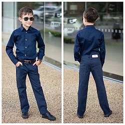Рубашка для мальчика школьная длинный рукав на кнопках, 122-146.