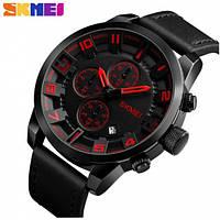 Часы наручные мужские женские кварцевые Skmei 1309 All Black-Red 1080-0115