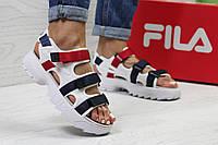 Босоножки женские Fila Disruptor Sandal в стиле Фила белые, синие, красные