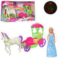 Карета DEFA 8423  с лошадью, 52см, кукла 30см, муз, свет, бат(таб), в кор-ке, 53,5-32-15см