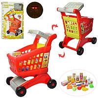 Тележка XS-14059A  супермаркет,кассов.аппарат-муз,звук,свет,продукты,на бат,в кор,42-56,5-8см