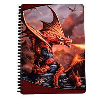Блокнот 18208  огненный дракон, на пружине, клетка, 3D, A4, упаковка 12шт