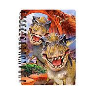 Блокнот 18268  динозавры, селфи, 10,5-14,5см, клетка, на пружине, 3D, 24шт в дисплее