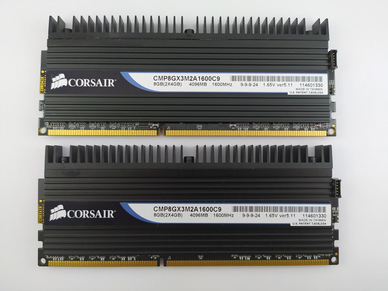 Комплект оперативной памяти Corsair Dominator DDR3 8Gb (2*4Gb) 1600MHz PC3-12800 (CMP8GX3M2A1600C9) Б/У