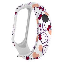 Силиконовый ремешок КИТТИ № 2 на фитнес трекер часы Xiaomi mi band 3 / 4 браслет аксессуар замена