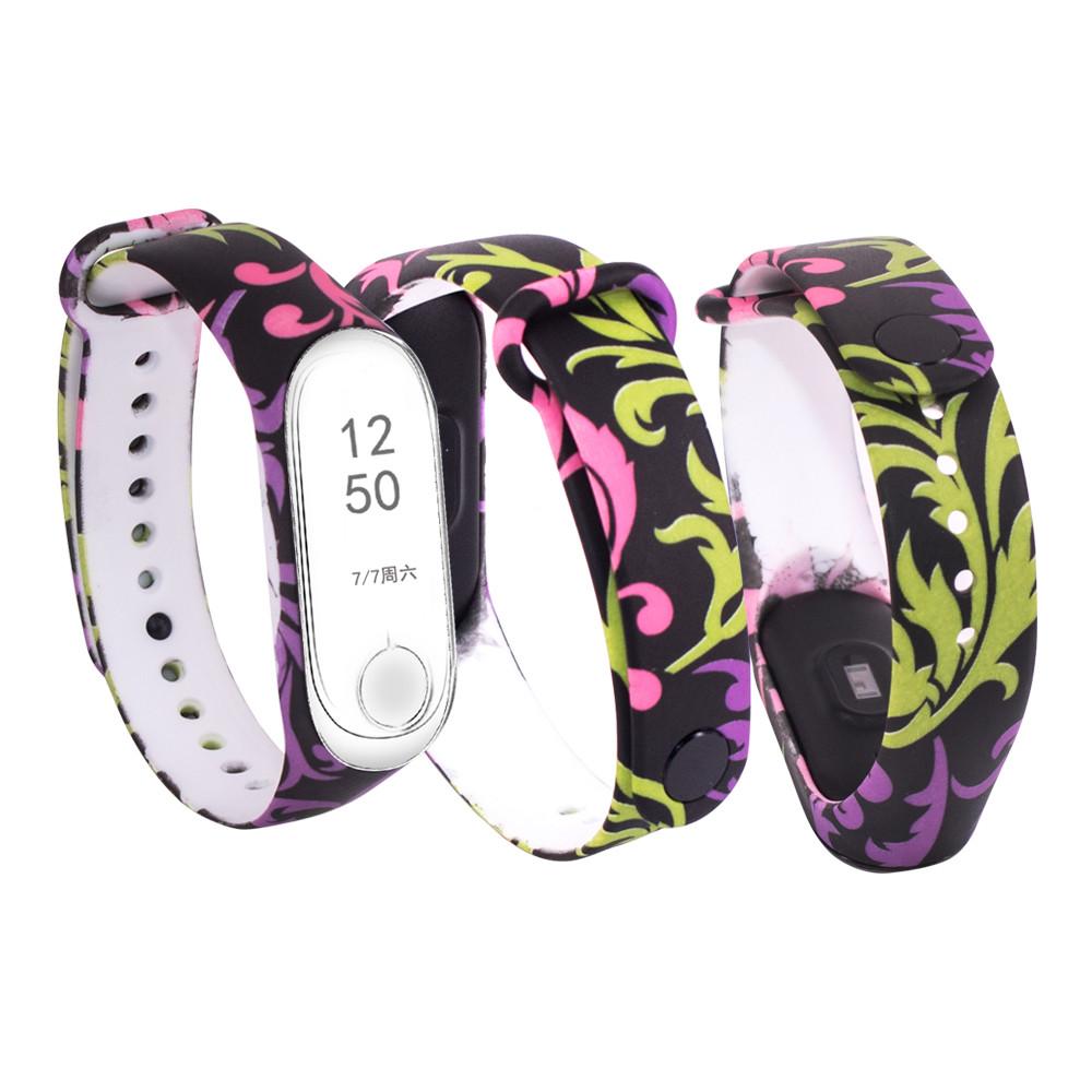 Силиконовый ремешок ЗАВИТКИ ЧЕРНЫЙ ФОН № 19 на фитнес часы Xiaomi mi band 3 / 4 браслет аксессуар замена