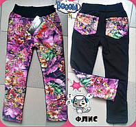 Детские теплые брюки с ярким цветочным принтом для девочки т. плащевка на флисе / розовые