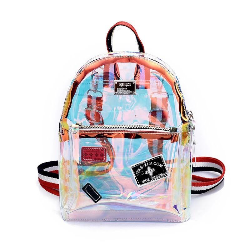 Прозрачный мини рюкзак сумка голограмный Luxy Moon.(AV127)