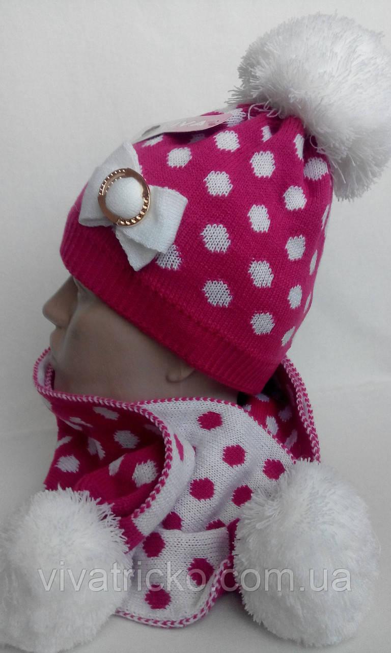 Комплект шапка + шарф детский , разные цвета