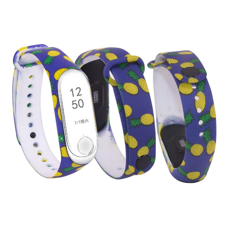 Силіконовий ремінець АНАНАСИ № 15 на фітнес годинник Xiaomi mi band 3 / 4 браслет аксесуар заміна