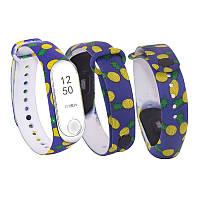 Силіконовий ремінець АНАНАСИ № 15 на фітнес годинник Xiaomi mi band 3 / 4 браслет аксесуар заміна, фото 1