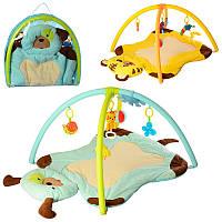 Коврик для младенца 668-53-54  100-72см,дуга2шт,подвес5шт,2в(животн),муз,бат,в куль,64-57-7см