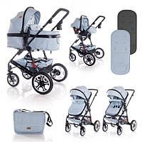 Детская коляска с автокреслом  Lorelli 3в 1 Lora Set Blue