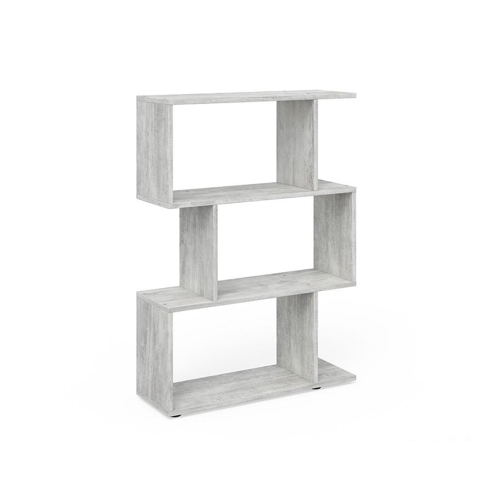 Удобный стеллаж для дома, лесенка, книжный шкаф из ДСП 3 отсека, Бетон