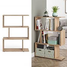Удобный стеллаж для дома, лесенка, книжный шкаф из ДСП 3 отсека, Бетон, фото 2