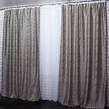 """Комплект готовых штор блэкаут ,коллекция """"Битое скло"""" двусторонний. Цвет бежевый+светло-коричневыйй. 386ш  (Б), фото 5"""