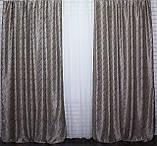 """Комплект готовых штор блэкаут ,коллекция """"Битое скло"""" двусторонний. Цвет бежевый+светло-коричневыйй. 386ш  (Б), фото 6"""