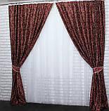 """Комплект готовых штор блэкаут коллекция """"Жаклин"""", двусторонний. Цвет бордовый. 323ш (А), фото 3"""