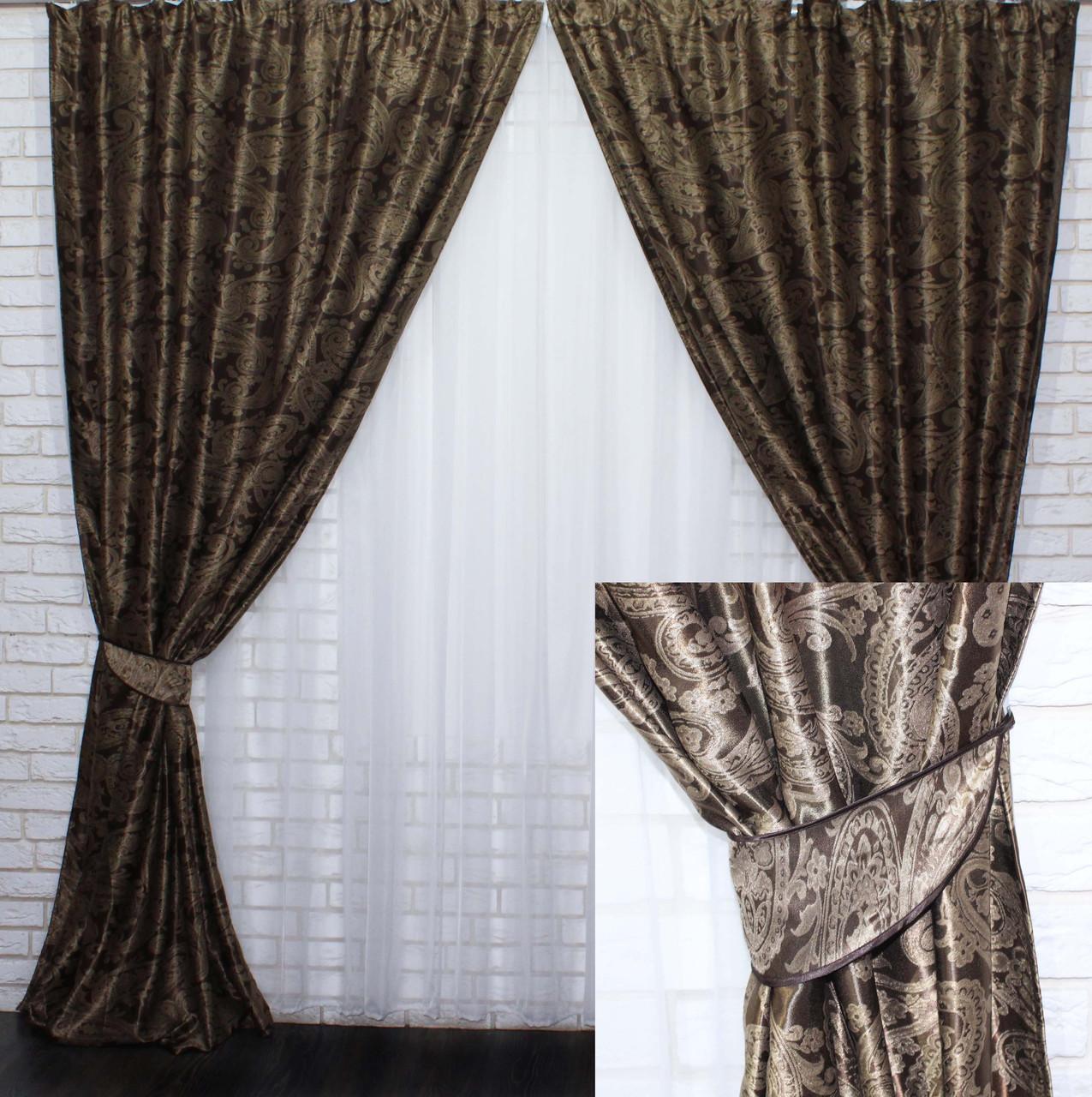 """Комплект готовых штор  блэкаут, """"Дамаск"""". Цвет темно коричневый+беж  377ш (А)"""