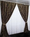 "Комплект готовых штор  блэкаут, ""Дамаск"". Цвет темно коричневый+беж  377ш (А), фото 2"