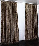 "Комплект готовых штор  блэкаут, ""Дамаск"". Цвет темно коричневый+беж  377ш (А), фото 3"