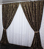 "Комплект готовых штор  блэкаут, ""Дамаск"". Цвет темно коричневый+беж  377ш (А), фото 4"