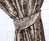 "Комплект готовых штор  блэкаут, ""Дамаск"". Цвет темно коричневый+беж  377ш (А), фото 6"