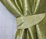 """Комплект готовых штор из ткани блэкаут софт """"Лиана"""". Цвет салатовый 462ш, фото 4"""