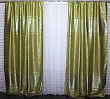 """Комплект готовых штор из ткани блэкаут софт """"Лиана"""". Цвет салатовый 462ш, фото 6"""