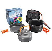 Набор туристической посуды с чайником 1100 мл HALIN Orange DS-308C