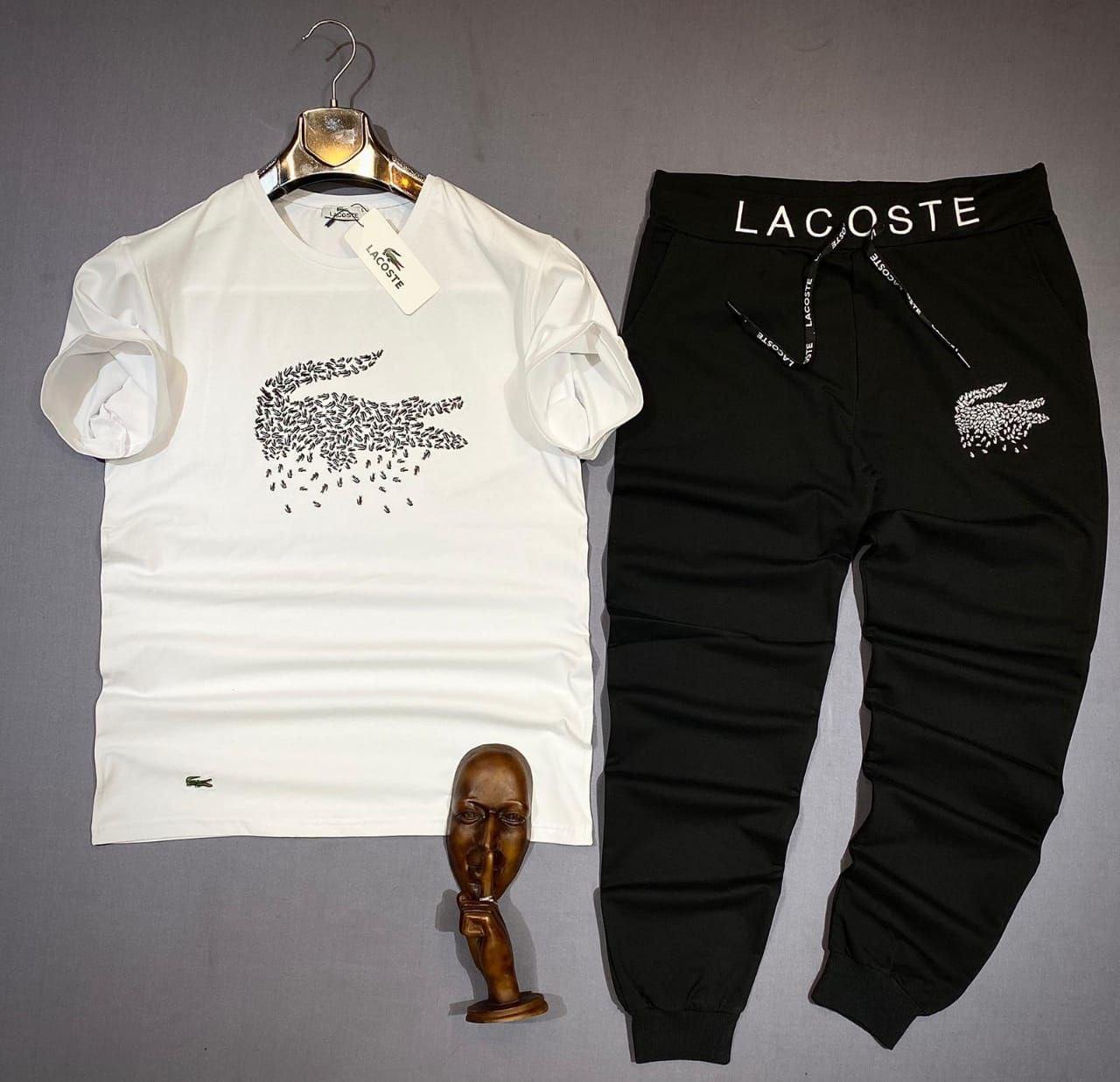 Мужской летний костюм Lacoste CK935 бело-черный