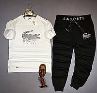 Мужской летний костюм Lacoste CK935 бело-черный, фото 1