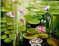 Картина маслом на холсте кувшинки, нимфеи, пруд